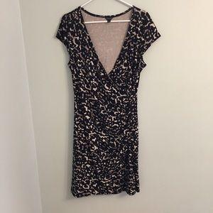 Ann Taylor Wrap Dress, Work Dress Black and Tan